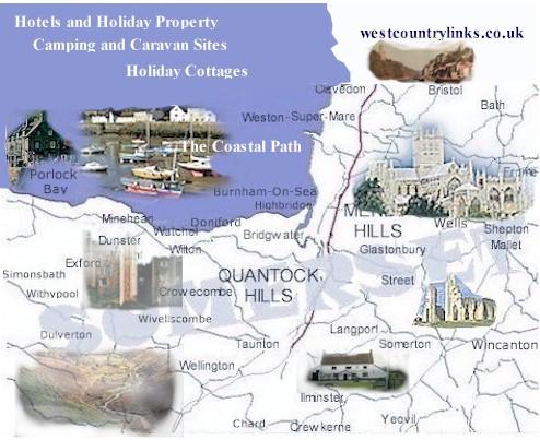map of somerset tourist information holiday parks cottage. Black Bedroom Furniture Sets. Home Design Ideas